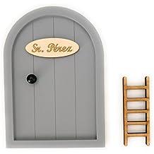 Puerta Ratoncito Pérez de madera varios colores + Escalera + Felpudo + Ratoncito de madera / Decoraciones de pared con adhesivo (Gris)