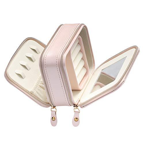 Schmuckkasten, BS Kleine Schmuckkasten aus Kunstleder mit Reißverschlüssen, Eingebauter Spiegel für Damen- und Mädchenringe, Ohrringe, Aufbewahrungsbox für Halsketten Organizer Schmuck, (Pink)