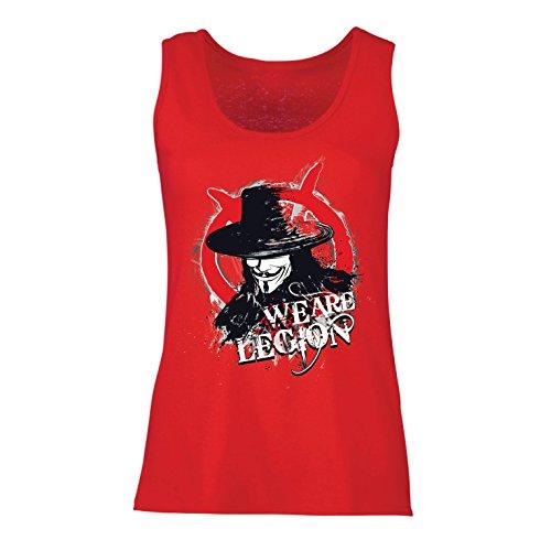 lepni.me Damen Tank-Top Wir sind Legion - Vendetta - Die Maske von Anonym (Small Rot Mehrfarben)