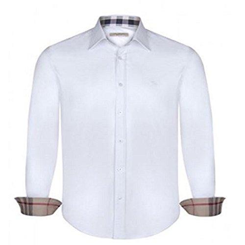 Burberry camicia uomo/mens brit regular fit manica lunga (small, bianco)