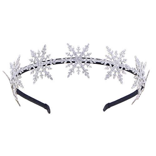 Frcolor Weihnachten Schneeflocke Stirnband Haarbänder Entzückende Nette Glitter Schneeflocke Haarbänder Weihnachten Party Favors Supplies für Kinder Mädchen (Silber)