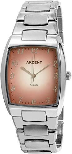 Akzent SS7627000025 - Reloj analógico de caballero de cuarzo con correa de aleación plateada - sumergible...