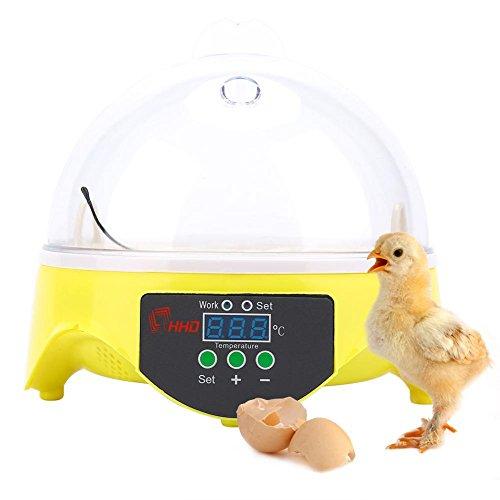 GOTOTOP Mini Egg Inkubator Digital Schalter Kontrolle der Temperatur Schalter für 7Eier, für Bruteier Künstliche Inkubation Eier -