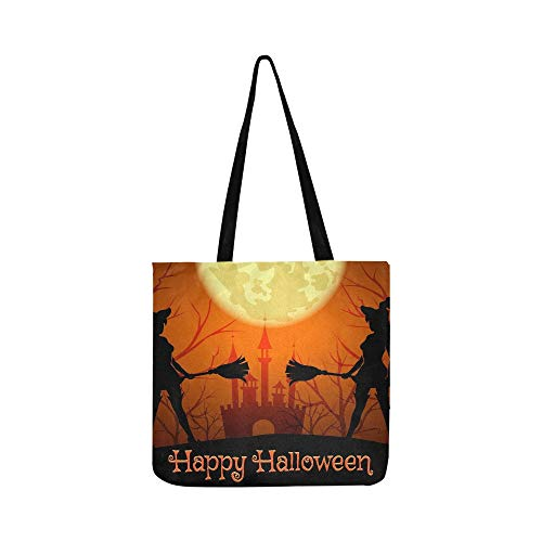 Halloween Silhouetten Hexen Schriftzug Happy Canvas Tote Handtasche Schultertasche Crossbody Taschen Geldbörsen Für Männer Und Frauen Einkaufstasche