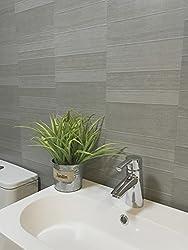 DBS Graphite Grey Modern Tile Effect Bathroom Panels Shower Wall PVC Cladding (4 Panels)