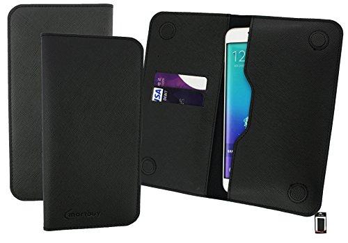 Emartbuyu00ae Dark Grey Textured PU Leder Magnetisch Schlank Brieftasche Tasche Sleeve Halter (Größe 5XL) Geeignet Für Creev Mark V Plus 4G LTE Smartphone 5.5 Zoll