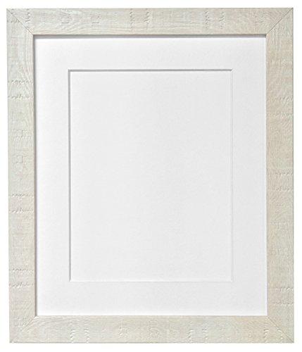 Frames by Post 40 x 50 cm de Profundidad de Vetas de Marco de Fotos con paspartú Blanco y plástico de Cristal para A3 para Fotos de, Off-Blanco