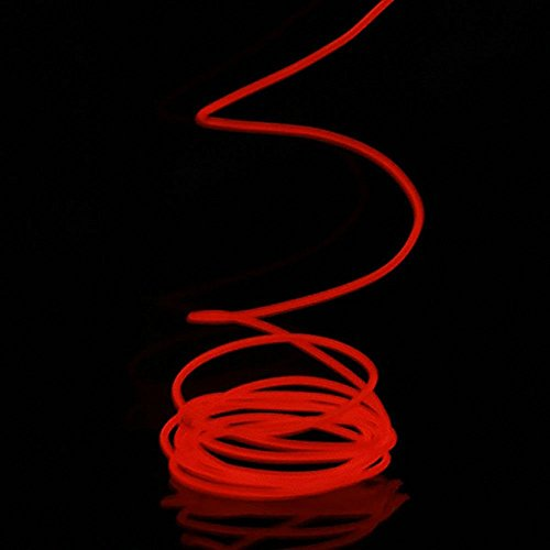 GGG 5 m Electroluminescent EL Neon Light Flexible LED Strip Draht Seil Glowing Beleuchtung Lampe Trafo Inverter KFZ-Ladegerät rot