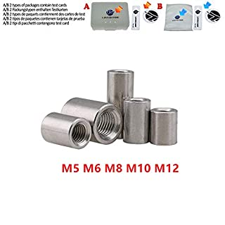 M3 M4 M5 M6 M8 M10 Edelstahl Langstabkupplung Rundmuttern Zylindermuttern für Schraubenmuttern Gelenkverbindung,M8 x 30mm 5 Stück