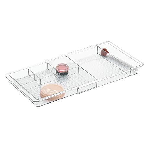 InterDesign Clarity Divisori per cassetti regolabili, separatore cassetti allungabile in plastica, trasparente