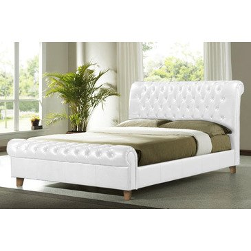 Time Living Richmond-Chesterfield Bed In White - Double | Brass Footrest produced by Time Living - quick delivery from UK.