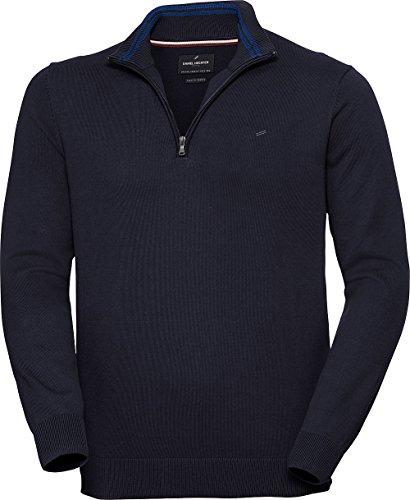 Daniel Hechter Herren Zipper-Pullover in Dunkelblau, eleganter Strickpullover mit Troyer-Kragen, aus Reiner Baumwolle, Gr. 48 - 60