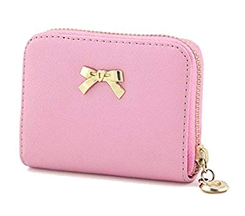 Cardith Damen Bowknot Reißverschluss GeldbörseSüßigkeiten Farbe tragbare kurze BrieftascheSüße Handtasche -