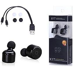 Tefamore Auriculares Mini Verdadera Inalámbrica Bluetooth Gemelos Estéreo En El Oído (negro)