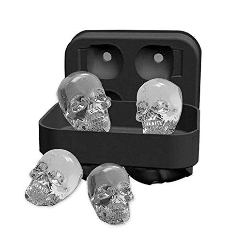 Pawaca 3D Skull Shape Eisformen, Schwarz BPA Freie Silikon Ice Cubes Mold Tray mit Deckel, Macht 4 Vivid Skulls, Perfekt für Whiskey, Cocktail und Jedes Getränk