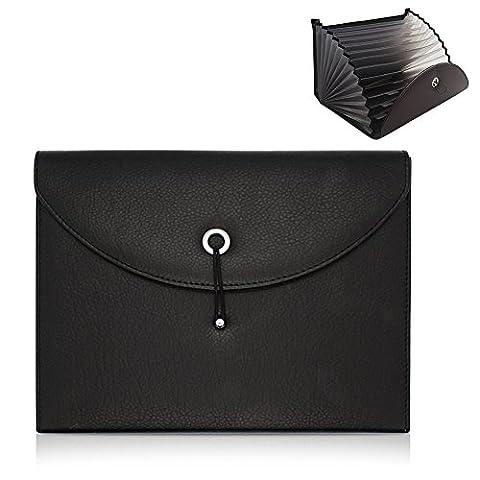 Gossipboy extensible Portable accordéon File Folder Document Wallet sacoche Cuir PU Business Organiseur de fichier Sac A4et lettre Taille 13poches