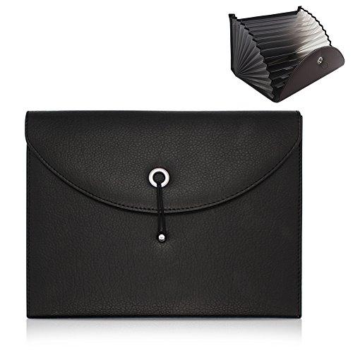Gossipboy dehnbarer tragbarer Akkordeon-Aktenordner, Dokumententasche Aktentasche PU Leder Business Datei Organizer Tasche A4Größe und Brief-Format 13Fächer schwarz (Akkordeon Aktentasche)