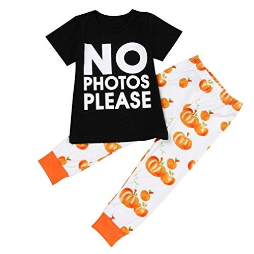 irl Kürbis-Set Fashion, yoyoug Toddler Infant Baby Mädchen Buchstabe T Shirt Tops + Kürbis Hose Halloween Outfits Set (Gute Halloween-ideen Für Kids)