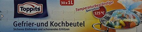 Toppits Gefrier- und Kochbeutel, 1 Liter, 2 in 1 Funktion, 30 Stück, Transparent