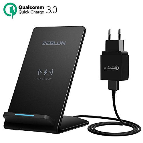 ZEBLUN Qi Chargeur sans Fil pour Samsung Chargeur Induction pour iPhone XS Max Recharge Rapide de Charge Fast Wireless Charger Pad pour Samsung S10 Plus/S10e, S9/S8 Plus, Note 9/8, iPhone 8 Plus, etc