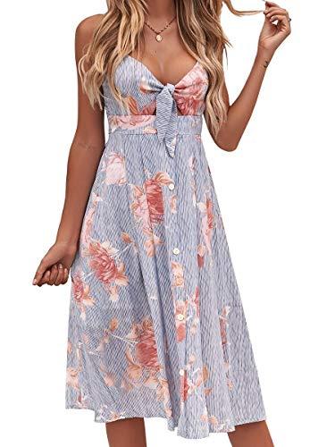 Hochzeit Kostüm Sexy - FANCYINN Kleid Damen Sommer Knielang Dekoltee V-Ausschnitt Sommerkleid Midi Träger Rückenfreies A-Linie Kleider Strandkleider Blau