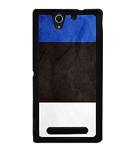 HiFi High Glossy Designer Phone Back Case Cover Sony Xperia C3 Dual :: Sony Xperia C3 Dual D2502 ( Blue Black White Pattern Design )