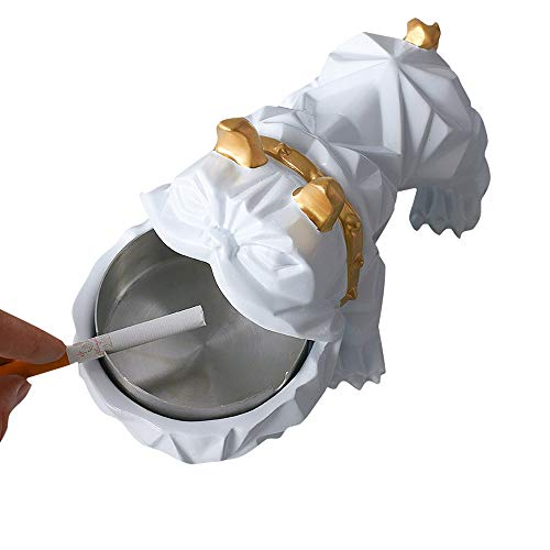 Modenny Nordic Kreative Persönlichkeit Hund Aschenbecher Mode Trend Bulldog Multifunktionale Wohnzimmer Dekoration Hauptdekorationen (Color : White) -