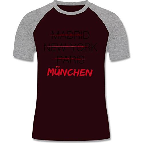 Städte - Weltstadt München - zweifarbiges Baseballshirt für Männer Burgundrot/Grau meliert
