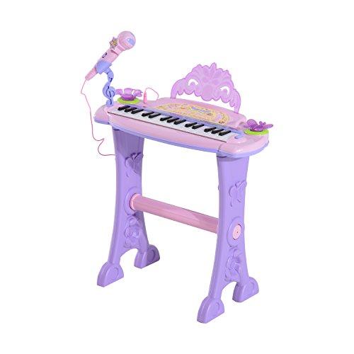 Clavier Musical électronique 32 Touches Multifonctions avec Micro Haut Parleur et Tabouret Rose et Mauve