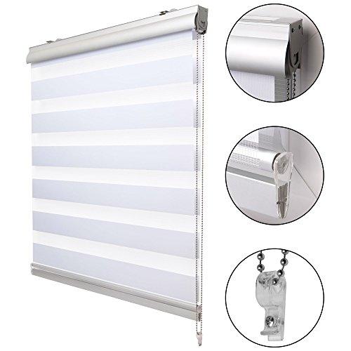 Sol royal tenda a rullo doppio strato con cassetta soldecor dk9 - 90x160cm - installazione anche senza trapano - bianco