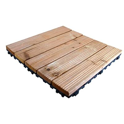 Kingfisher FT100 Wooden Decking Tiles - Natural Wood (Pack of 9) - low-cost UK flooring shop.