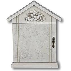 Cassetta portachiavi fiore porta armadietto portachiavi bianco beige anticato Rosali legno