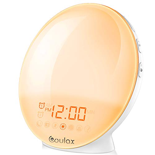 Wake Up Licht Coulax Lichtwecker Tageslichtwecker Wecker mit 20 Helligkeitseinstellungen & 7 natürlichen Sounds & FM Radio & Snooze Funktion Nachtlicht