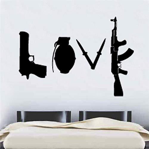 JXFFF Pistole Granate Waffe geschnitzt Poster Wohnzimmer Schlafzimmer Student Schlafsaal Schlafzimmer kreative DIY dekorative Wandaufkleber 57x82cm -