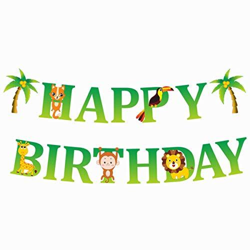 BESTOYARD Bestyard Happy Birthday Wimpelkette Cartoon Dschungel Wald Tier Deko Papier Banner Flagge Party Supplies