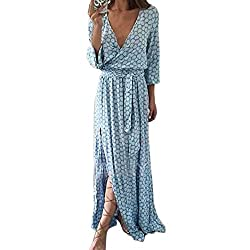 Daylin 1pc Women Long Sleeve V Neck Casual Printed Long Maxi Dress With Belt (S)