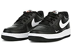 Nike Boys Air Force 1 Low Basketball Sneaker Black/White-White 5. 5Y