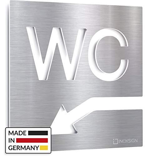 INOXSIGN Edelstahl WC-Schild - selbstklebend & pflegeleicht - Design Toiletten-Schild mit Pfeil - W.05.E