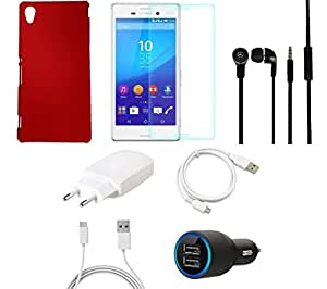 NIROSHA Tempered Glass Screen Guard Cover Case Charger Headphone USB Cable for Sony Experia M4 - Combo