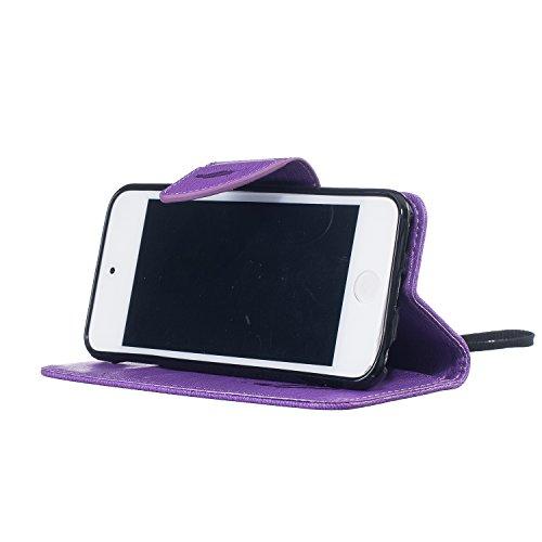 Custodia iPod Touch 5 Pelle, LuckyW Piuma Uccello Pattern Design Stampata Morbida PU Pelle Case per iPod Touch 5/6 Flip Libro Bookstyle Wallet Portafoglio Folio Caso Protettivo Shell Chiusura Magnetic Porpora