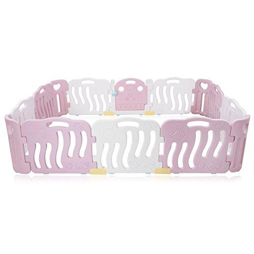 Baby Vivo Box Bambini Recinto Cancelletto Pieghevole Sicurezza Barriera Giochi Protezione in Rosa / Bianco - Bailey
