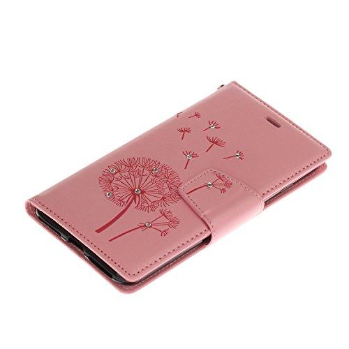 Voguecase® Pour Apple iPhone 7 Plus 5,5 Coque, Étui en cuir synthétique chic avec fonction support pratique pour Apple iPhone 7 Plus 5,5 (Pissenlit-diamant-Gris)de Gratuit stylet l'écran aléatoire uni Pissenlit-diamant-Pink
