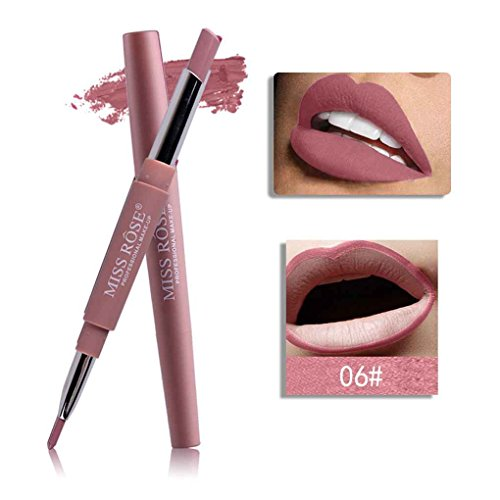 Babysbreath MISS ROSE 8 colores doble labial lápiz labial mate de larga duración a prueba de agua para el maquillaje labial 6#