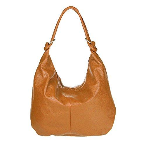 Made in Italy Femmes XXL Shopper En Cuir Sac École, Sac À Bandoulière sac 47x35x16 cm (LxHxP) - Cognac Cognac