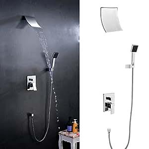 Kinse 3pcs set doccia di lavabo cascata rubinetto lavabo monocomando miscelatore acqua fredda e - Acqua calda per andare in bagno ...