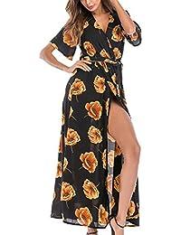 4d3f68400 Vestido Casual Verano Estampado Floral Manga Corta Split Wrap Vestidos De  Mujer