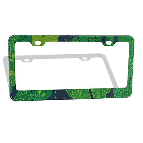 FunnyCustom License Plate Frame Green Plant Cactus Personalized Aluminum License Plate Set Metal Tag Holder 12 x 6 Inch 2 Packs