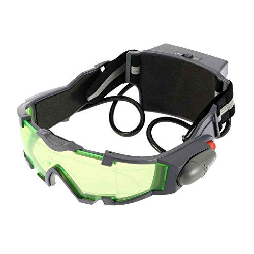 Timlatte Grüne Linse Einstellbare elastische Band-Kind-Gläser Eyeshield Nachtsichtbrille für Kinder LED-Leuchten dunkle Brillen