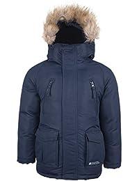 Mountain Warehouse Doudoune veste Enfant Garçon Fille Hiver Capuche Fourrure Résistant Pluie