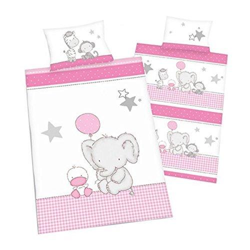 3 tlg. Baby Bettwäsche Wende Motiv: Elefant mit Ente - Renforcé 100x135 cm + 40x60 cm + 1 Spannbettlaken in weiß 70x140 cm (Enten Bettwäsche-sets)